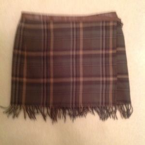 Olive/black/beige wool skirt